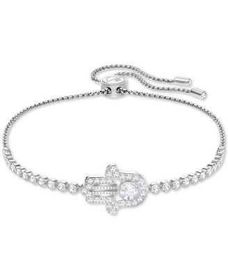 Swarovski Silver Tone Crystal Hamsa Hand Slider Bracelet Fashion
