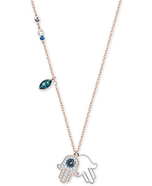 Two-Tone Multi-Crystal Hamsa Hand Pendant Necklace