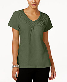 Karen Scott Petite Crochet-Neck Cotton Top, Created for Macy's