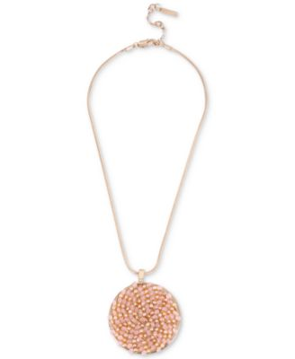 Kenneth Cole New York Rose GoldTone Pink Imitation Pearl Woven