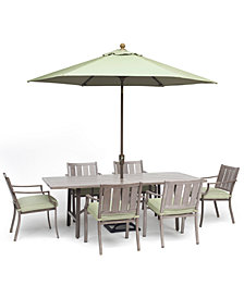 """Wayland Outdoor Aluminum 7-Pc. Dining Set (84"""" x 42"""" Rectangle Dining Table & 6 Dining Chairs) with Sunbrella® Cushions, Created for Macy's"""