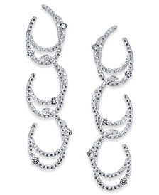 Danori Silver-Tone Cubic Zirconia Link Triple-Drop Earrings, Created for Macy's