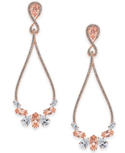 Danori Rose Gold-Tone Crystal & Pavé Drop Earrings