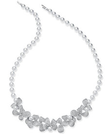 "Danori Silver-Tone Imitation Pearl & Crystal Pavé Petal 16-1/2"" Collar Necklace"