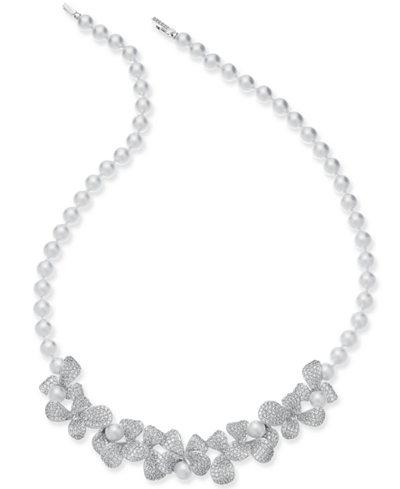 Danori Silver-Tone Imitation Pearl & Crystal Pavé Petal 16-1/2