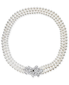 "Danori Silver-Tone Crystal Cluster Swarovski Imitation Pearl Three-Strand 17"" Collar Necklace, Created for Macy's"