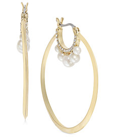 kate spade new york Gold-Tone Pavé & Imitation Pearl Hoop Earrings