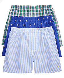 Polo Ralph Lauren Men's Classic Woven Boxers, 3-Pack