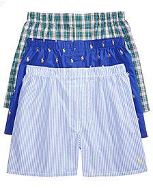 Polo Ralph Lauren Men's Classic Woven Boxers, 3-Pack