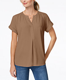 Charter Club Cuffed-Sleeve Split-Neck Top, Created for Macy's