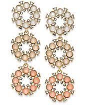 I.N.C. Gold-Tone Stone & Crystal Flower Triple Drop Earrings, Created for Macy's