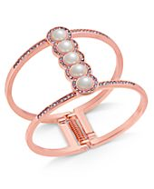 I.N.C. Rose Gold-Tone Pavé & Imitation Pearl Open Hinged Cuff Bracelet, Created for Macy's