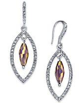 I.N.C. Silver-Tone Stone & Pavé Orbital Drop Earrings, Created for Macy's