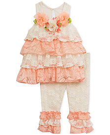 Rare Editions 2-Pc. Lace & Ruffle Tunic & Leggings Set, Baby Girls