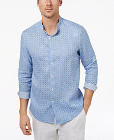 Tasso Elba Island Men's Medallion-Print Band-Collar Linen Shirt, Created for Macy's