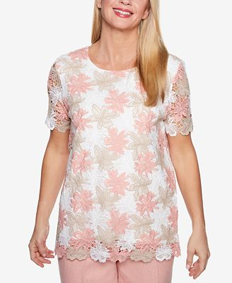Alfred Dunner La Dolce Vita Floral-Lace Top