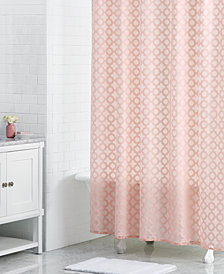 "LAST ACT! Martha Stewart Collection Burnout 72"" x 72"" Geo-Print Shower Curtain, Created for Macy's"