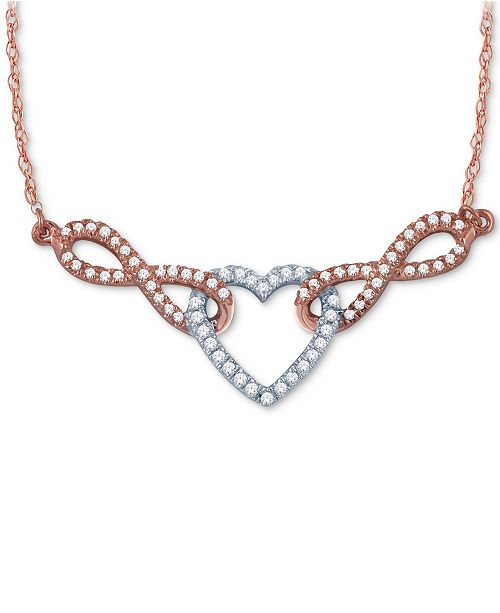 Macy's Diamond Pavé Heart Pendant Necklace (1/4 ct. t.w.) in 14k White and Rose Gold