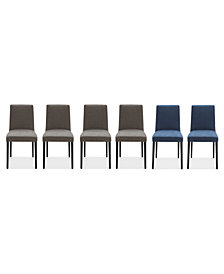 Gatlin Dining Chairs, 6-Pc. Set (4 Charcoal Dining Chairs & 2 Blue Dining Chairs), Created for Macy's