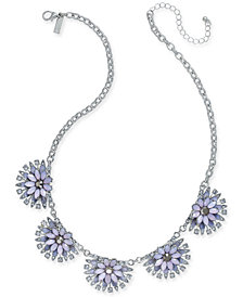 "I.N.C. Silver-Tone Multi-Stone Flower Statement Necklace, 20"" + 3"" extender, Created for Macy's"