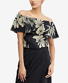 Polo Ralph Lauren Floral-Print Off-The-Shoulder Top