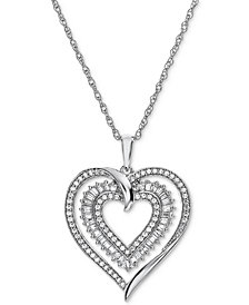 Diamond Heart Openwork Pendant Necklace (1/2 ct. t.w.) in 14k White Gold