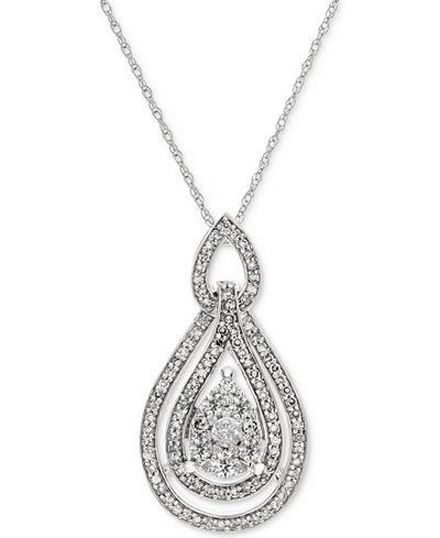 Diamond Openwork Teardrop Pendant Necklace (1/2 ct. t.w.) in 14k White Gold