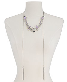 "I.N.C. Stone Flower & Tassel 60"" Slider Necklace, Created for Macy's"