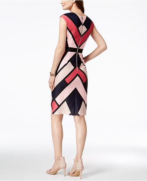 Vince Geo Multi Print Sheath Pink Dress Camuto 00qrBA