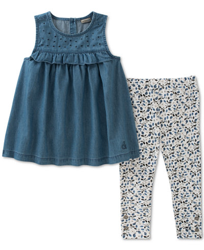 Calvin Klein 2-Pc. Tunic & Floral-Print Leggings Set, Baby Girls