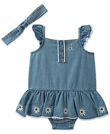 Calvin Klein 2-Pc. Romper & Headband Set, Baby Girls
