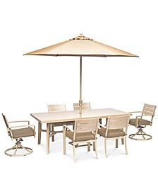 "CLOSEOUT! Beach House Outdoor 7-Pc. Dining Set (84"" x 42"" Dining Table, 4 Dining Chairs and 2 Swivel Rockers)with Sunbrella® Cushions, Created for Macy's"