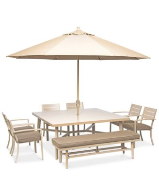 Beach House Outdoor 8 Pc Dining Set 68 Square Table 6 Chairs And 1 Bench With Sunbrella Cushions Created For Macy S