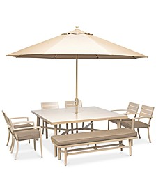 "CLOSEOUT! Beach House Outdoor 8-Pc. Dining Set (68"" Square Dining Table, 6 Dining Chairs, and 1 Dining Bench), with Sunbrella® Cushions, Created for Macy's"