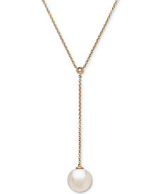 "Cultured White Ming Pearl (13mm) and Diamond Accent 18"" Lariat Necklace in 14k Gold"