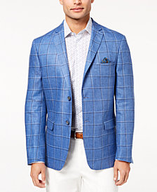 Tallia Orange Men's Slim-Fit Blue Windowpane Sport Coat