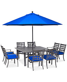 "CLOSEOUT! Highland Blue Aluminum Outdoor 9-Pc. Dining Set (64"" Square Dining Table and 8 Dining Chairs) with Sunbrella® Cushions, Created for Macy's"