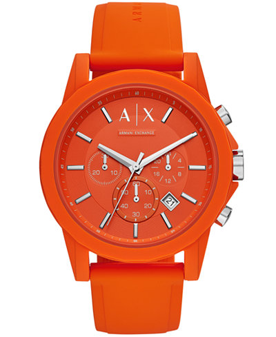 A X Armani Exchange Men's Chronograph Orange Silicone Strap Watch 47mm