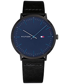 Men's Black Leather Strap Watch 40mm, Created for Macy's