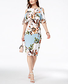 JAX Floral-Print Cold-Shoulder Sheath Dress