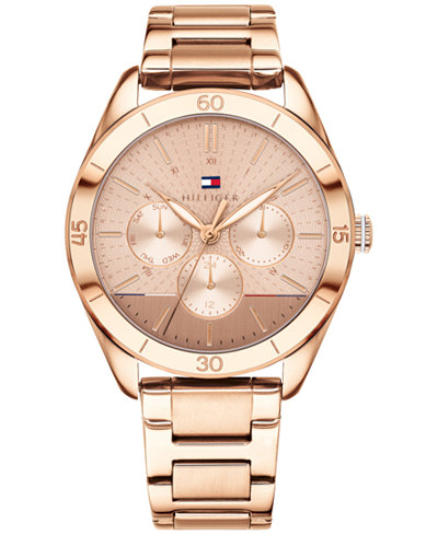 Tommy Hilfiger Women's Rose Gold-Tone Metal Bracelet Watch 40mm, Created for Macy's