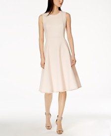 Calvin Klein Scuba Midi Fit & Flare Dress