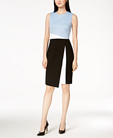 Calvin Klein Colorblocked Scuba Sheath Dress, Regular & Petite