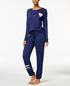 Jenni by Jennifer Moore Graphic Printed Pajama Top & Pants Sleep Separates, Created for Macy's