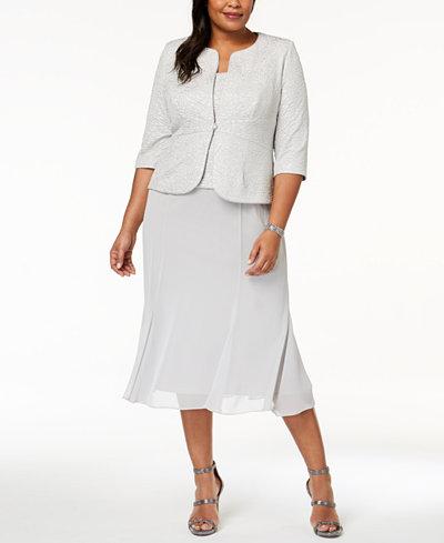 Alex Evenings Plus Size Midi Dress & Embellished Jacket