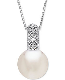 "Honora Style Cultured White Ming Pearl (13mm) 18"" Pendant Necklace in Sterling Silver"
