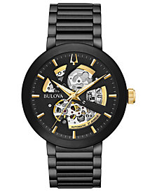 Bulova Men's Modern Black Stainless Steel Bracelet Watch 42mm