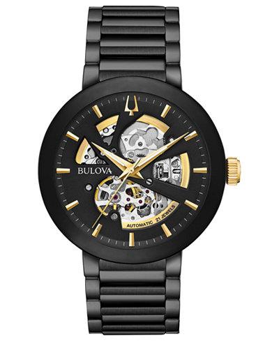 Bulova Men's Modern Black Stainless Steel Bracelet Watch 42mm