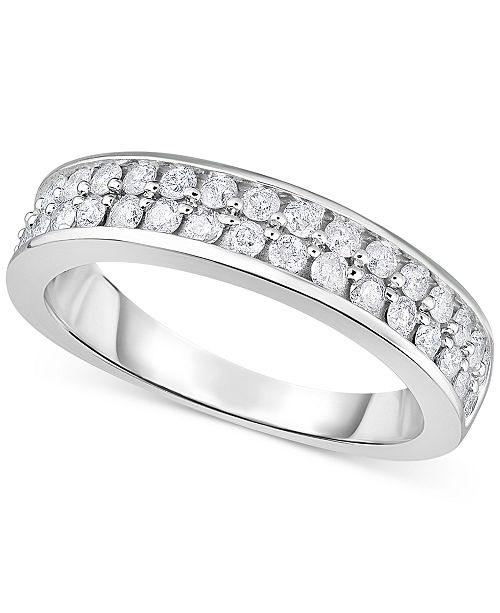 Macy's Diamond Double Row Band (3/4 ct. t.w.) in 14k White Gold