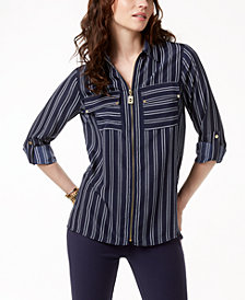 MICHAEL Michael Kors Striped Zip-Front Utility Shirt in Regular & Petitie Sizes